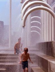 Riverside Plaza Fountains in West Bank/Cedar-Riverside Neighborhood of Minneapolis