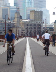 Commuting on Stone Arch Bridge from Marcy-Holmes Neighborhood of Minneapolis